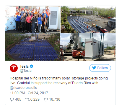 特斯拉开始在波多黎各使用Powerwall电池储存能源,以支持灾后救援